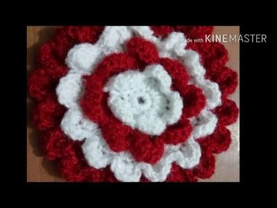 Flower shape crochet pattern design for bedcovers.cushion covers.thalposh.plate cover