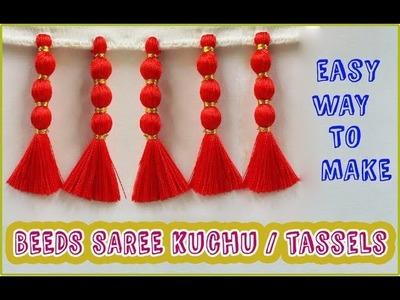 Hiden Beed Saree kuchu Making in easy method. How to make Saree kuchu