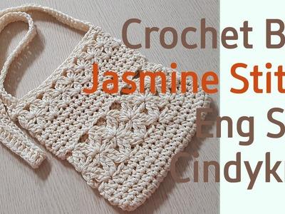 How to crochet bag(jasmine stitch shoulder bag)(eng sub)
