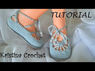 How to Crochet Ballet Slippers Tuturial (English)