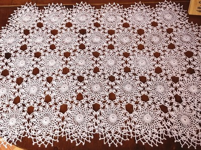 How to Crochet Fine Doily Motif Lace Table Cloth. Table Runner 2