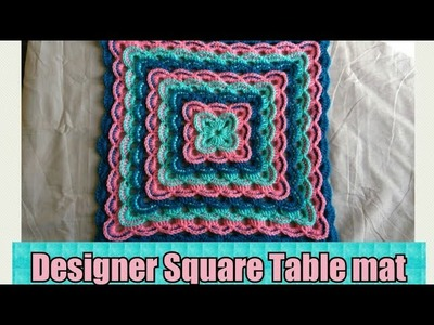 How to crochet square table mat # in Marathi # English subtitles.रुमाल प्रकार 16
