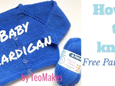 How to knit a BABY CARDIGAN - V-Neck&Raglan | TeoMakes