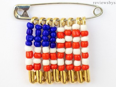 How to Make a USA Flag Friendship Pin - Happy Fourth 4th of July Crafts with Beads Pins