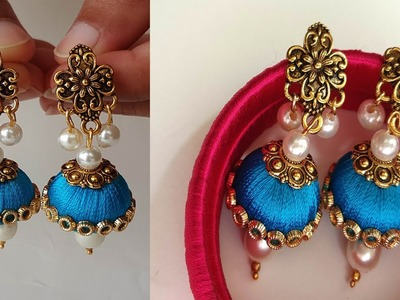 How To Make Beautiful Silk Thread Earrings Using Pearls at Home