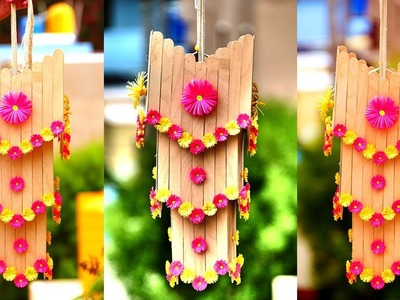 How To Make Beautiful Wall Hanging With Popsicle Sticks | DIY Room Decor! Ideas