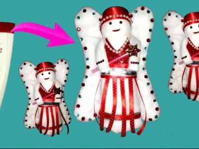 How to make Cotton Doll With shampoo bottle step by step at home | DIY Doll making craft idea