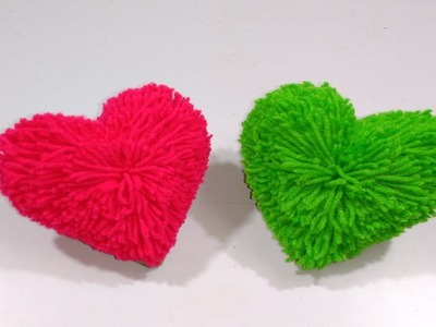 How to make heart shape pompom heart gift for valentine's handmade gift easy  and creative