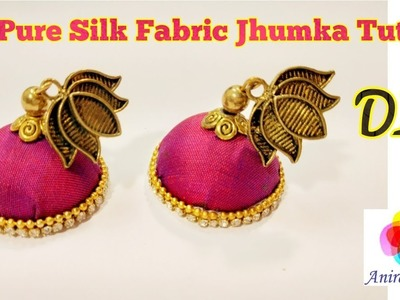 How to make Silk Fabric Jhumka at home. Kanchipuram Silk. DIY Tutorial