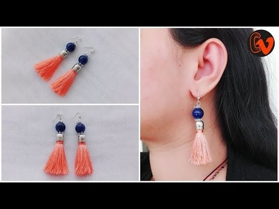 How to make trendy earrings tutorial. how to make Silk thread Tassel Earrings Tutorial
