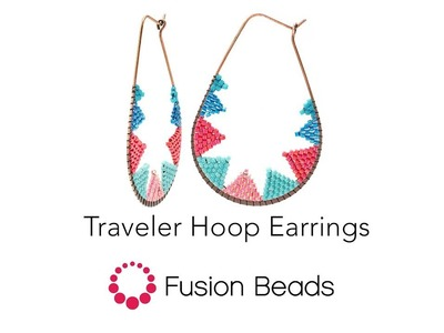 Let Katie show you how to bead the Traveler Hoop Earrings by Fusion Beads