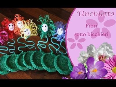 Uncinetto fiori- Sottobicchieri con fiori-How to do coasters with flowers
