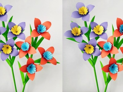 DIY: Flower Stick !! Paper Stick !! How to make beautiful paper flower stick for room decoration !!!