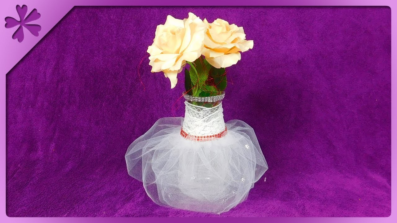 DIY How to make decorative vase with dress, table decoration (ENG Subtitles) - Speed up #498