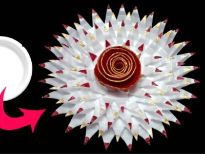 DIY How To Make Flower From Waste Thermocol Plate for wall decor.home decor flower making craft idea