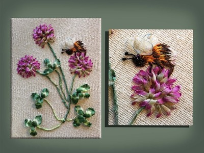 How to embroider a silk ribbon red clover group