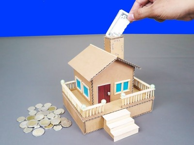 How To Make A Cute House Saving coin & Cash From Cardboard - Project for Kids