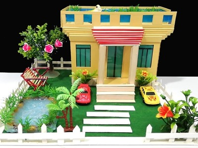 How to Make a House - Beautiful Dream-house Garden Villa From Cardboard and Popsicle