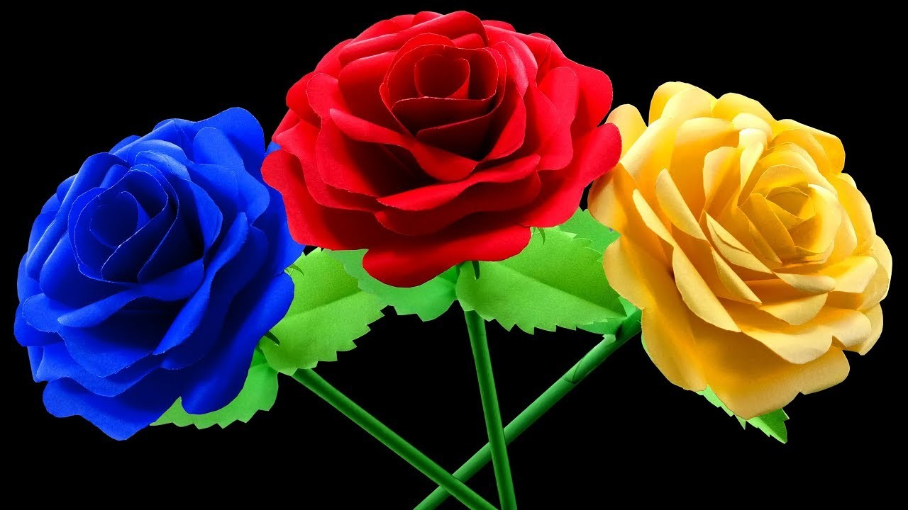 How to Make Beautiful Rose Flower by Quick and Easy Steps : DIY Paper Crafts