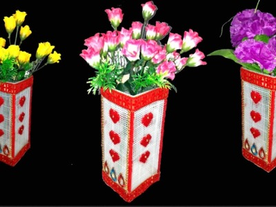 How to make flower vase.pot with Plastic Canvas | DIY flower pot.vase making |Plastic Canvas(Part 5)