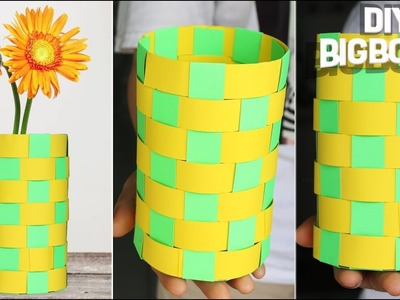 How to make paper flower vase step by step, Paper crafts EASY 2018