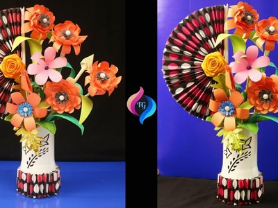 How to make paper flowers and plastic bottle vase at home - Easy paper craft - Paper crafts flowers