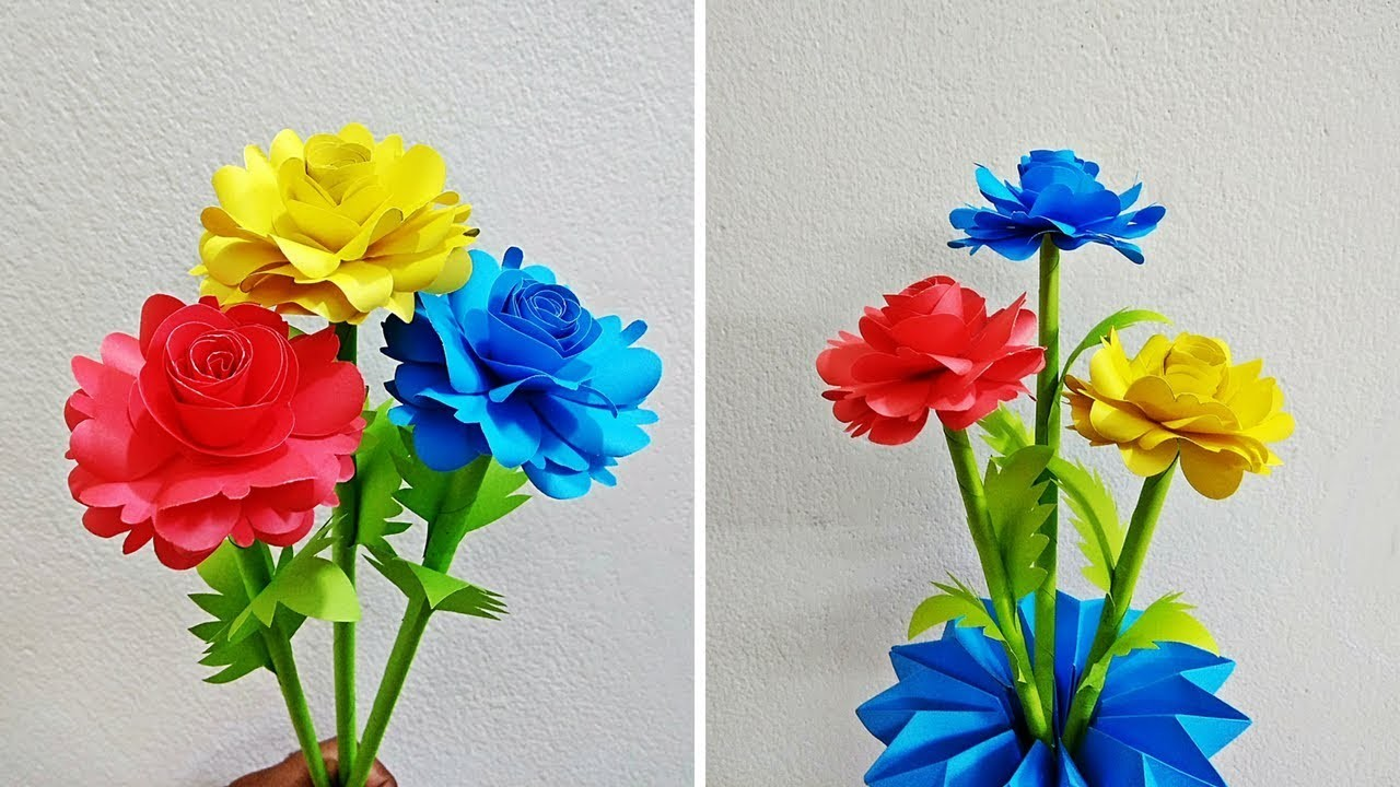 How To Make Paper Rose Flower Making Paper Flowers Step By Step
