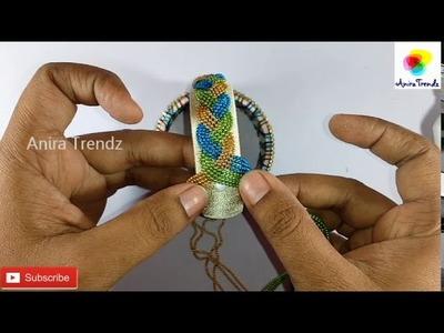 How to make silk thread Bangle Braided Design using Ball Chain| Aari Embroidery Inspired