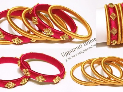 How To Make Simple & Beautiful Silk Thread Bangles At Home   DIY   Making Fancy Side Bangles Set