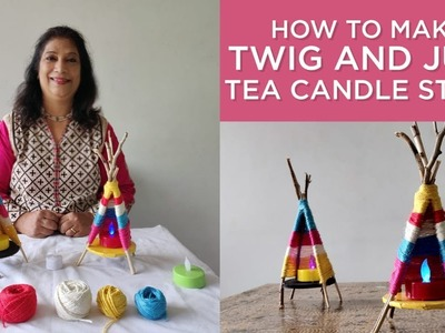 How to make Twig and Jute Tea Candle Stand | Seemas Art