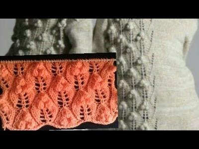 पत्ती Lace bobble Leaf knitting design hindi (English subtitles). new design 2018.design no 85