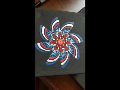 Star Spangled Swipes - how to paint a dot art mandala - Fireworks Pinwheel Spirals