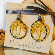 Tree Of Life Earrings Dangle Yellow Gold Beads Black Nature Jewellery Accessories Handmade