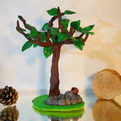 Tree Ornament Standing Trees Pond Waterfall Nature Home Decor Handmade Cute (Large Item)