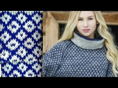 आसान two color knitting design hindi (English subtitles). new knitting design 2018.design no 86