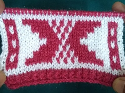 2 Color Sweater Design with Knitting (in Hindi)