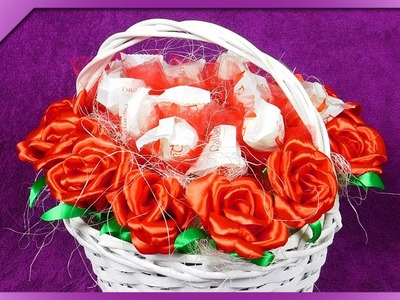DIY How to make Raffaello basket and ribbon roses (ENG Subtitles) - Speed up #497