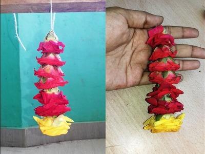 Easy method to string Rose flower decoration at home | how to string rose flower decoration