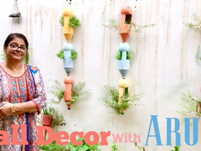 Garden Wall Decor by Handmade Planters, TUTORIAL to renovate Wall in Garden with Aruna