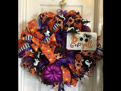 How to make a Halloween Poof and Ruffle wreath