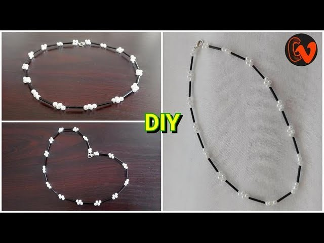 How to make beaded choker necklace tutorial .  Pearl choker tutorial