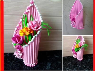 How to make flower vase at home   Simple paper crafts   beautiful flower vase