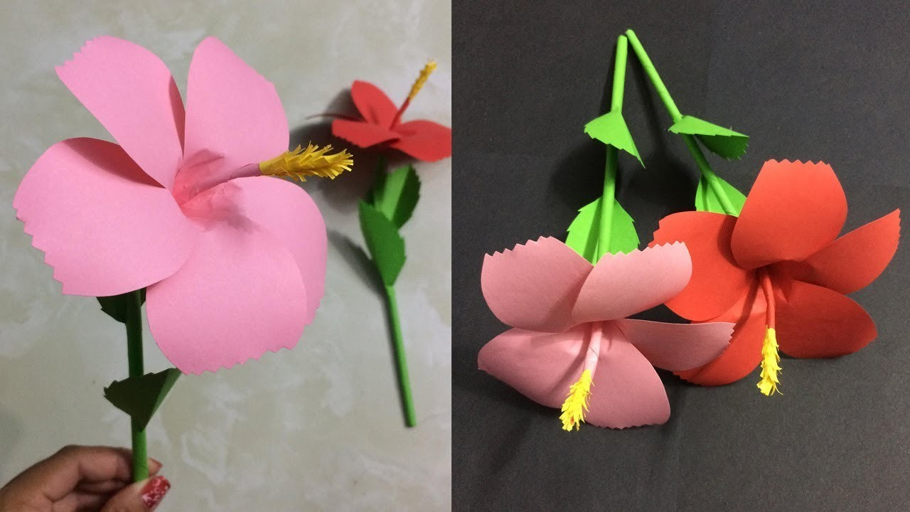 How To Make Hibiscus Paper Flower Making Paper Flowers Step By Step