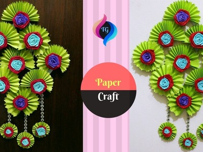 How to Make Paper Flower Wall Hanging Very Easy - DIY Hanging Flower - Paper Craft Ideas