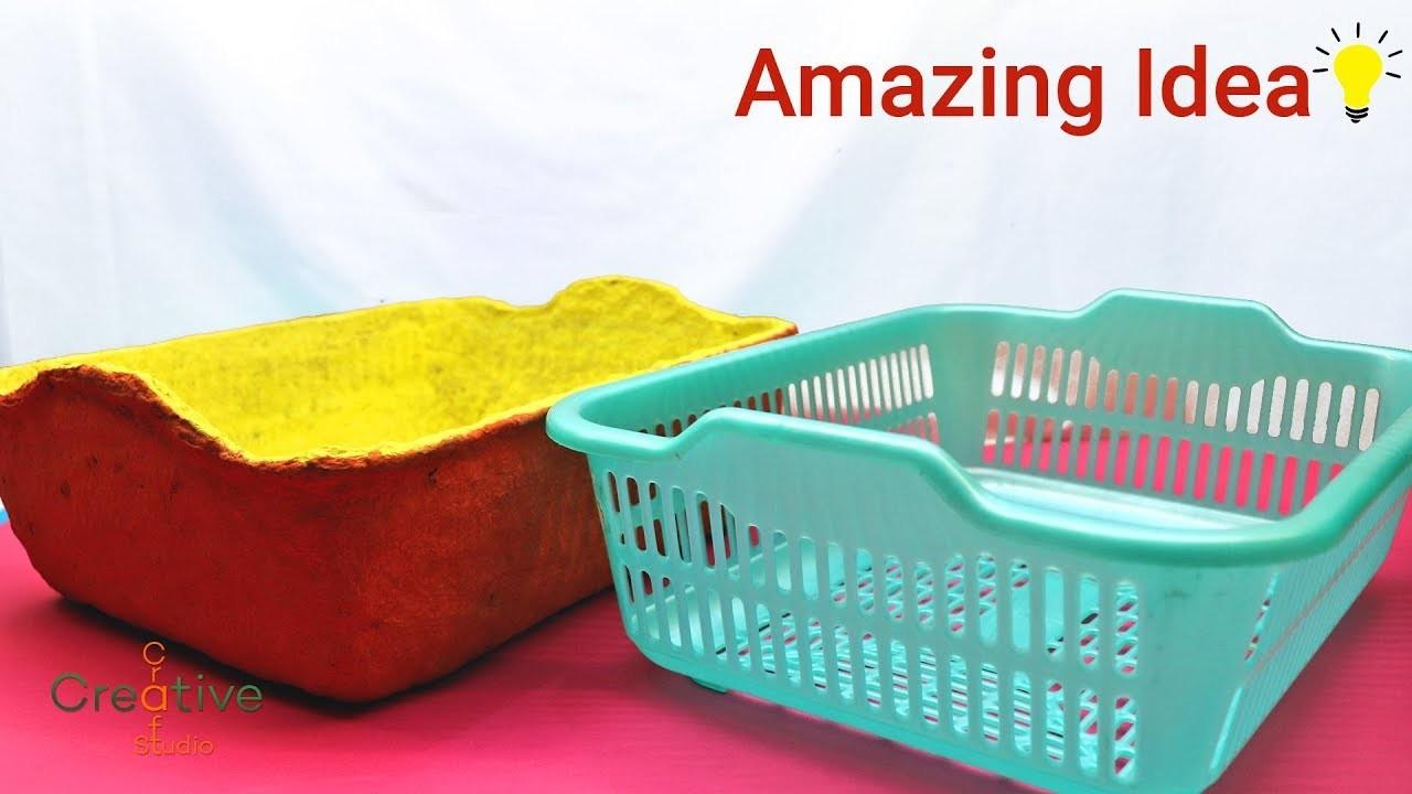 How to make Paper mache basket | mache paper crafts