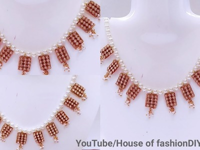 How To Make Paper sheet Stone Line Necklace At Home. !