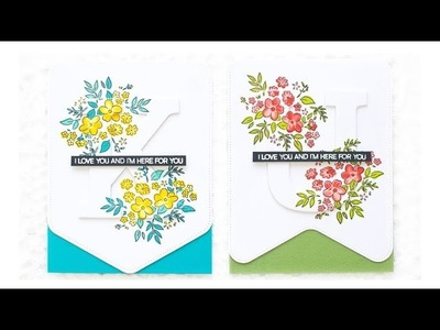 How to Make Party Banner Themed Floral Cards Using Altenew Stamps & Dies