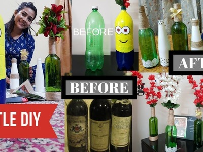 (IN HINDI) HOW TO DECORATE BOTTLES - DIY PLASTIC & GLASS BOTTLES