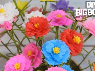 Simple tutorial for How to make Tissue Paper flowers - Portulaca Grandiflora