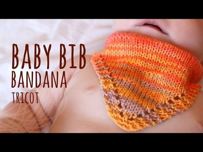 Tutorial Knitting Baby Bib (Bandana pattern)